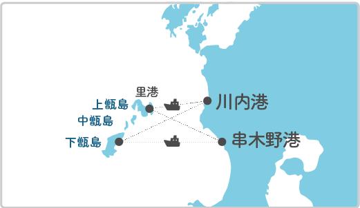 本土最寄り地点から上甑島へのルート図