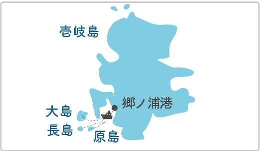 本土最寄り地点から原島へのルート図