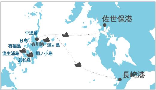 本土最寄り地点から中通島へのルート図