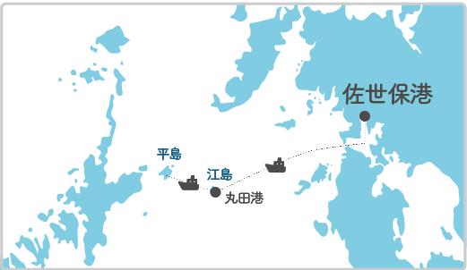本土最寄り地点から江島へのルート図