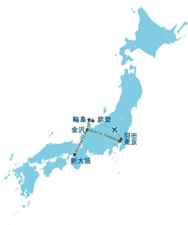 主要都市から舳倉島への広域ルート図
