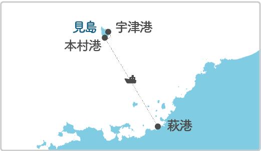 本土最寄り地点から見島へのルート図