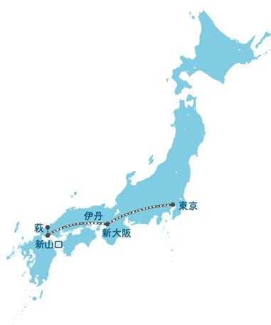 主要都市から見島への広域ルート図