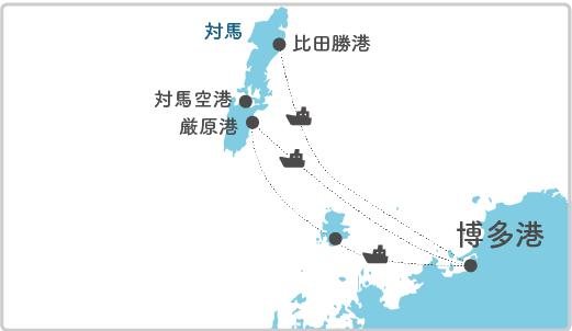 本土最寄り地点から海栗島へのルート図