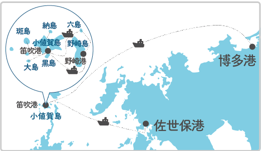 本土最寄り地点から斑島へのルート図