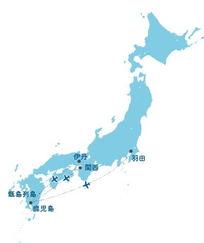 主要都市から上甑島への広域ルート図