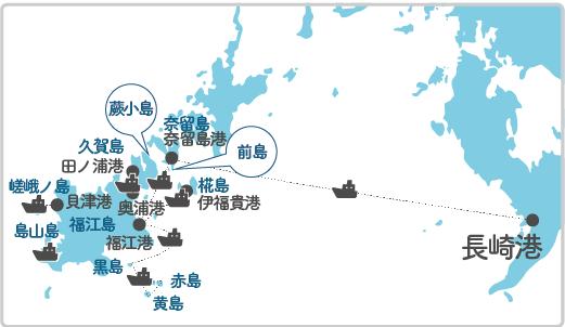 本土最寄り地点から蕨小島へのルート図
