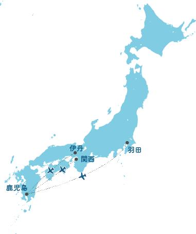 主要都市から悪石島への広域ルート図