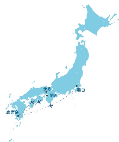 主要都市から黒島への広域ルート図