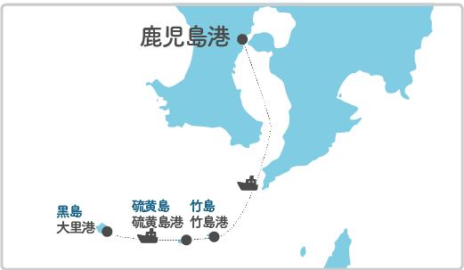 本土最寄り地点から黒島へのルート図