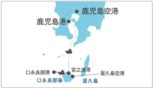 本土最寄り地点から口永良部島へのルート図