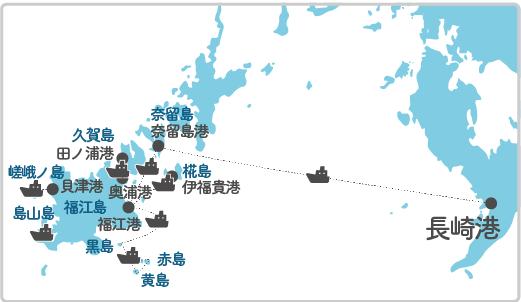 本土最寄り地点から奈留島へのルート図