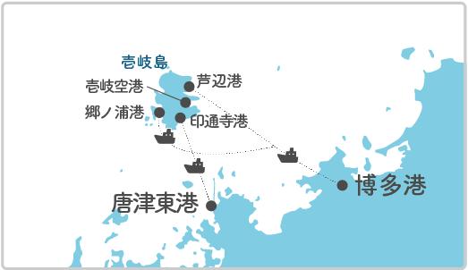 本土最寄り地点から若宮島へのルート図