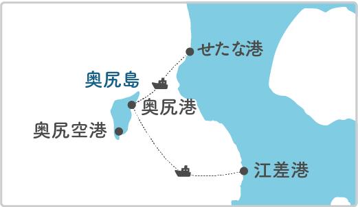本土最寄り地点から奥尻島へのルート図