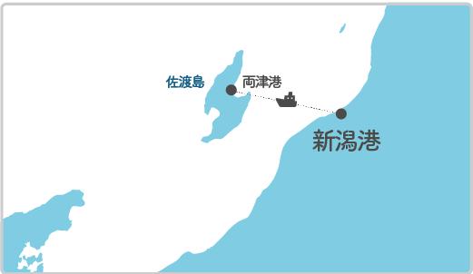 本土最寄り地点から佐渡島へのルート図